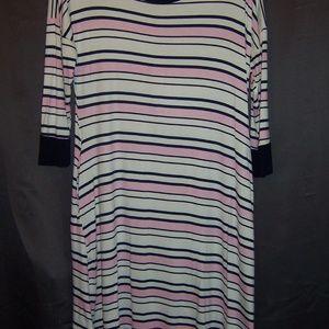 Annabelle NWT T Shirt Dress White w/ Pink & Blue